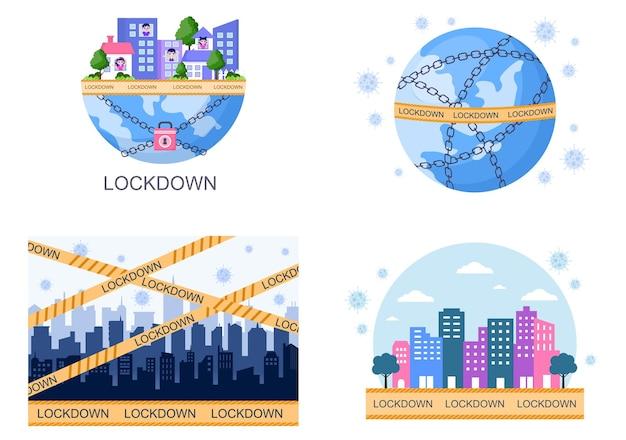 Lockdown covid-19 coronavirus illustratie