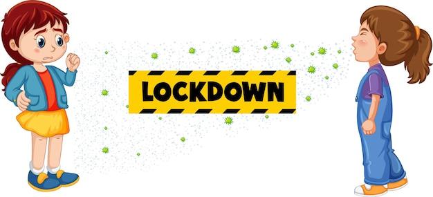 Lockdown-lettertype in cartoonstijl met een meisje kijkt naar haar vriend die niest op wit wordt geïsoleerd