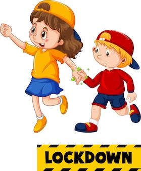 Lockdown-lettertype in cartoonstijl met twee kinderen houdt geen sociale afstand geïsoleerd op een witte achtergrond