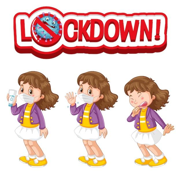 Lockdown-lettertypeontwerp met een meisje met een medisch masker op een witte achtergrond