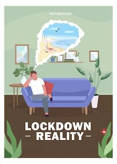 Lockdown realiteit plat. persoon in zelfisolatie.