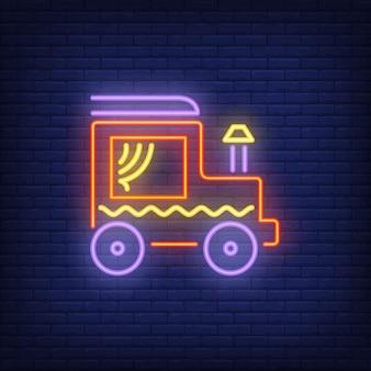 Locomotief met schoorsteen neon teken