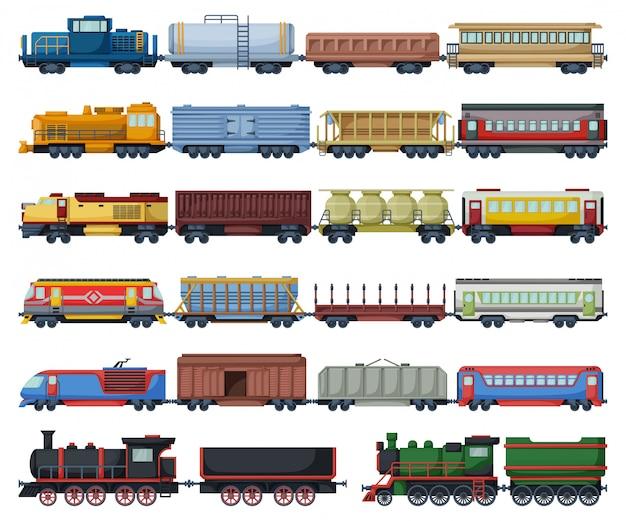 Locomotief met wagen geïsoleerde cartoon set pictogram. cartoon instellen pictogram spoorwegtrein.
