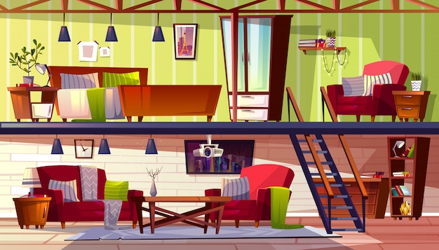 Loft lounge of twee verdiepingen tellende kamer interieur illustratie van slaapkamer en kabinet.
