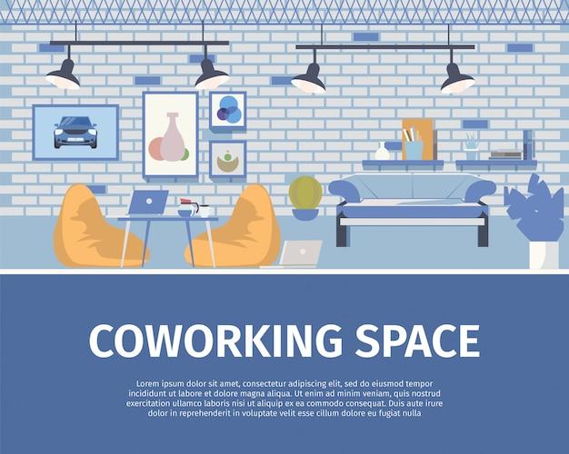 Loft style coworking space interior design banner