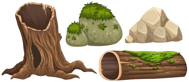 Log en rotsen met mos bovenop