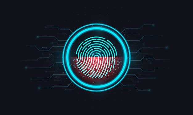 Log in met vingerafdrukidentificatie met een afdruk in een cirkel op een elektronisch scherm Premium Vector