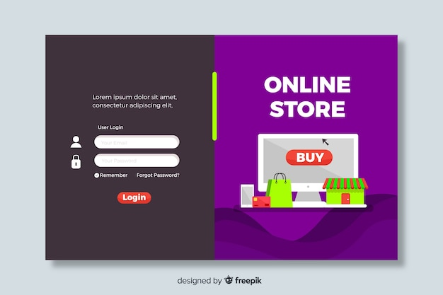 Log in op de bestemmingspagina van de online winkel