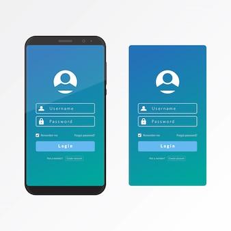 Log in ui en ux met een slimme telefoon vector ontwerpsjabloon