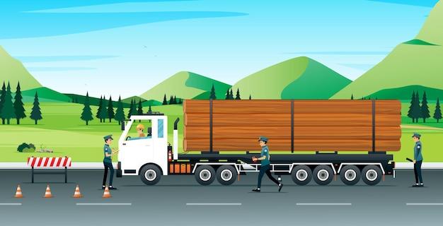 Log vrachtwagens stopten voor de politie om de nauwkeurigheid en discipline van het verkeer te controleren.