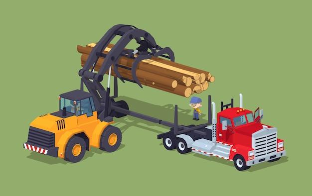 Logboeken laden op vrachtwagen