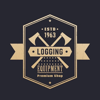 Logboekregistratie-apparatuur, houtwinkel vintage logo