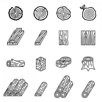 Logboekregistratie en hout pictogrammenset met witte achtergrond.