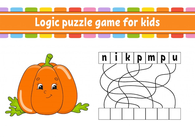 Logica puzzelspel. woorden leren voor kinderen. plantaardige pompoen. zoek de verborgen naam.