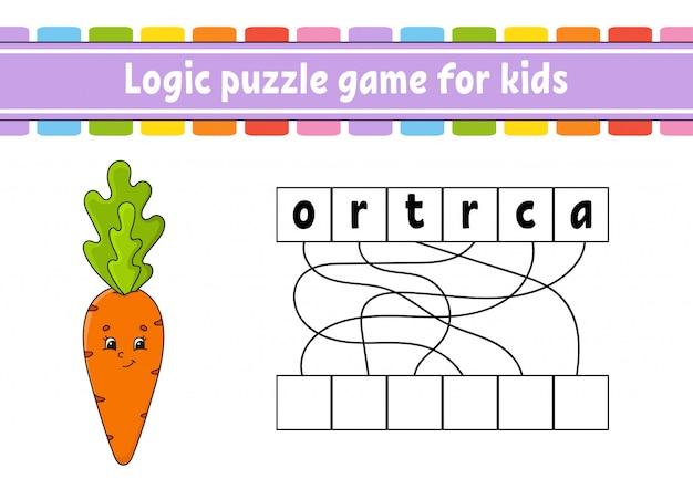 Logica puzzelspel. woorden leren voor kinderen.