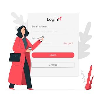 Login concept illustratie