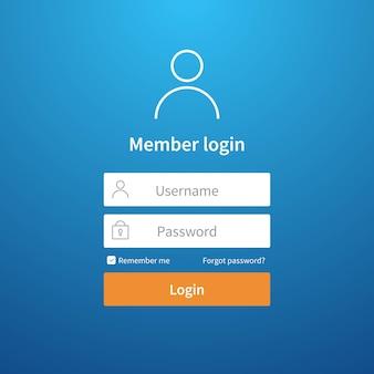 Login formulier. website ui accountschermpagina registreren gebruikersinterface profielinvoer netwerkaanmeldingssjabloon indienen