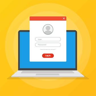 Login-pagina op laptopscherm toegang tot accountconcepten.