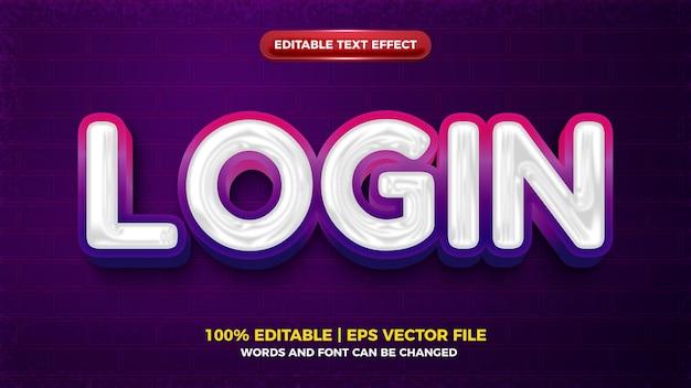 Login vibes 3d chrome vet bewerkbaar teksteffect