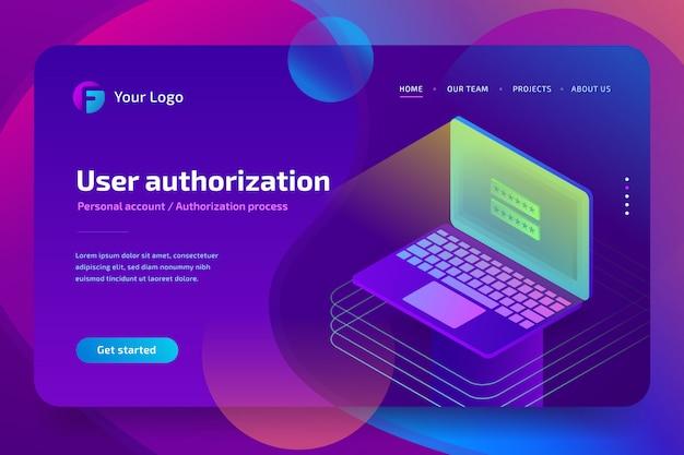 Login wachtwoord op laptopscherm. biometrische autorisatie voor gegevenstoegang. 3d isometrisch
