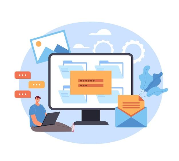 Login wachtwoord voer website webpagina online concept in.