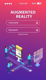 Login webformulier met isometrische illustratie over augmented reality met mensen en praatjebellen