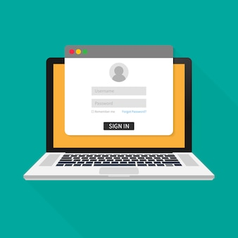 Loginpagina op laptopscherm. notebook en online inlogformulier, inlogpagina. gebruikersprofiel, toegang tot accountconcepten. vector illustratie