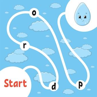 Logisch puzzelspel. leuke druppel. woorden leren voor kinderen. zoek de verborgen naam. onderwijs ontwikkelen werkblad. activiteitenpagina