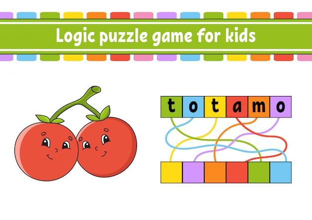 Logisch puzzelspel. woorden leren voor kinderen. zoek de verborgen naam. werkblad, activiteitenpagina.