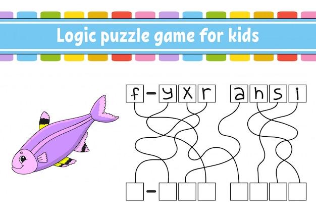 Logisch puzzelspel. woorden leren voor kinderen. zoek de verborgen naam.
