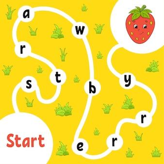 Logisch puzzelspel. woorden leren voor kinderen.