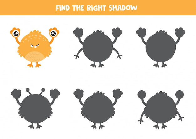Logisch spel voor kinderen. vind de juiste schaduw van monster.