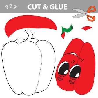 Logische puzzel voor kinderen. onderwijs ontwikkelen werkblad. activiteitenpagina met rode peper - knippen en plakken
