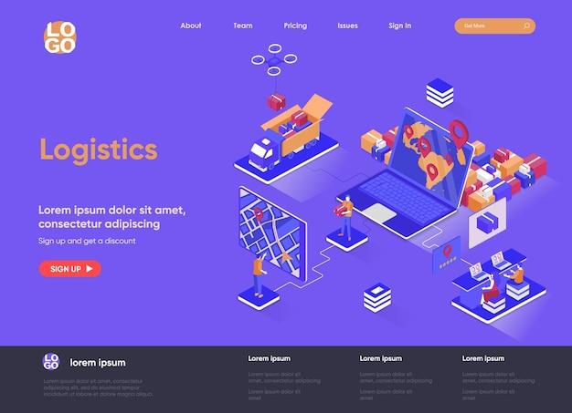 Logistiek 3d isometrische bestemmingspagina website illustratie met mensen karakters