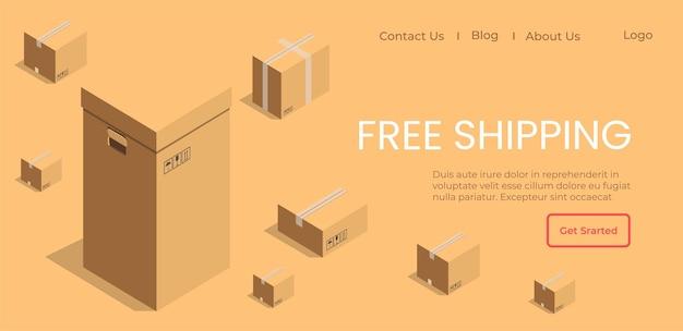 Logistiek bedrijf helpt bestellingen op tijd af te leveren. promotie van winkel om gratis verzending te krijgen voor trouwe klanten en klanten. website of webpaginasjabloon, bestemmingspagina platte vectorillustratie