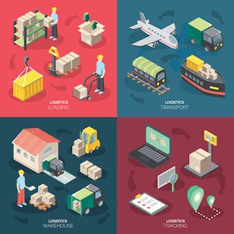 Logistiek concept icons set