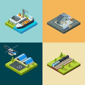 Logistiek concept. vrachtvervoer verzending vliegende manier spoorwegtreinen en auto's zakelijk vervoer isometrisch voertuig. illustratie logistiek maritiem, scheepvaart, levering per spoor