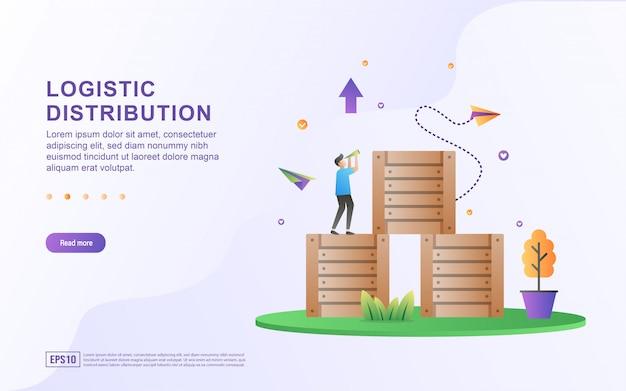 Logistiek distributie plat ontwerpconcept.