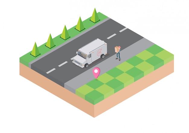 Logistiek en levering infographics. isometrisch, vrachtwagen, drone en bezorger. vector illustratie