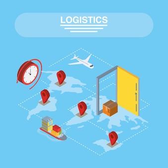 Logistiek en levering isometrische gps-markeringen met pictogrammen op kaartontwerp, transportverzending en servicethema