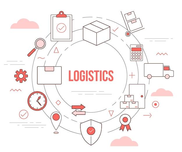 Logistiek leveringsconcept met illustratie ingesteld sjabloon met moderne oranje kleurstijl