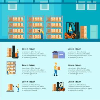 Logistiek magazijn infographics