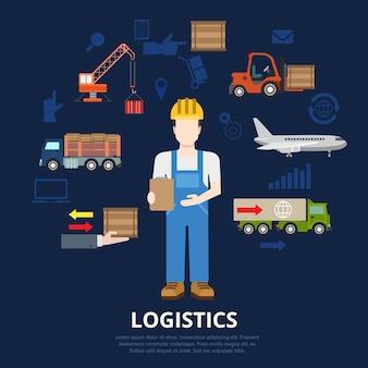 Logistiek platte bedrijfsconcept. magazijnmedewerker levering man en goederen krat verplaatsingsproces.