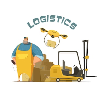 Logistiek retro cartoon concept met werknemer loader en vakken vector illustratie