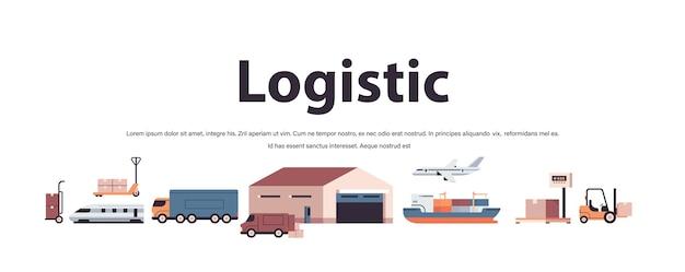 Logistiek transport set vrachtwagens schip vliegtuig trein magazijn lading symbolen expreslevering service concept kopie ruimte