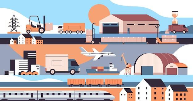 Logistiek transport set vrachtwagens schip vliegtuig trein magazijn lading symbolen express levering dienstverleningsconcept
