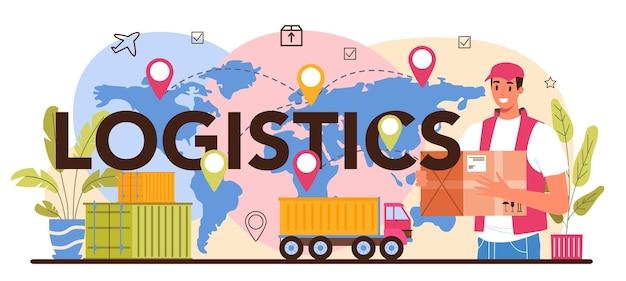 Logistiek typografische kop. idee van transport en distributie. lader in uniform die een lading aflevert. transport en levering dienstverleningsconcept. geïsoleerde vlakke afbeelding