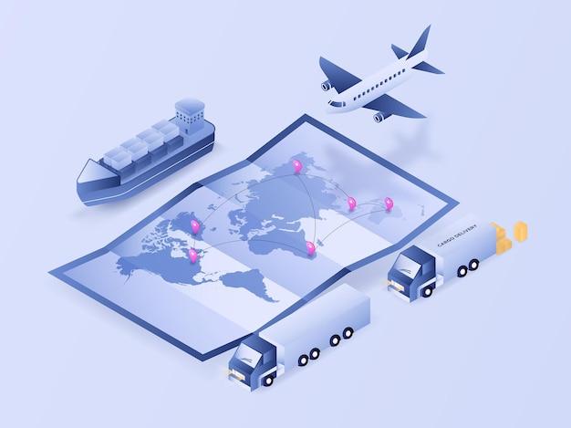 Logistiek volgproces van de wereldkaart via vliegtuigvrachtwagen en verzending 3d isometrische illustratievector