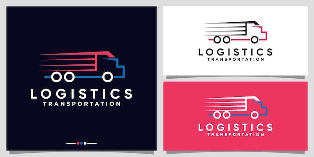 Logistiek vrachtwagenlogo-ontwerp voor zakelijk bedrijf met lijnkunststijl premium vector