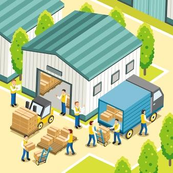 Logistiek werkproces in 3d isometrisch plat ontwerp